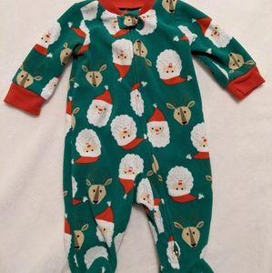 Carter's 3m fleece Santa reindeer footsie pajamas
